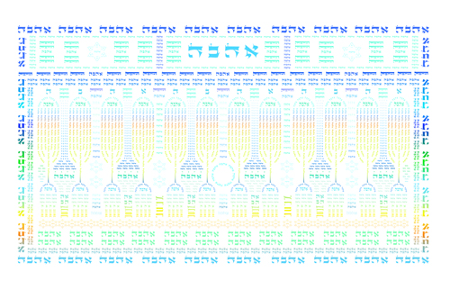 Ahava Shaviti (12 Menorahs Color)