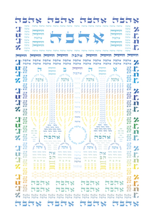 Ahava Shiviti (4 Menorahs Color)
